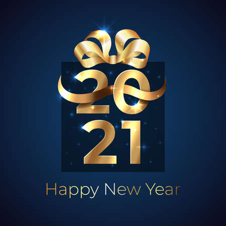 2021 New Year. Shiny golden 2021 in shape of a gift box with ribbon, bow on dark background.