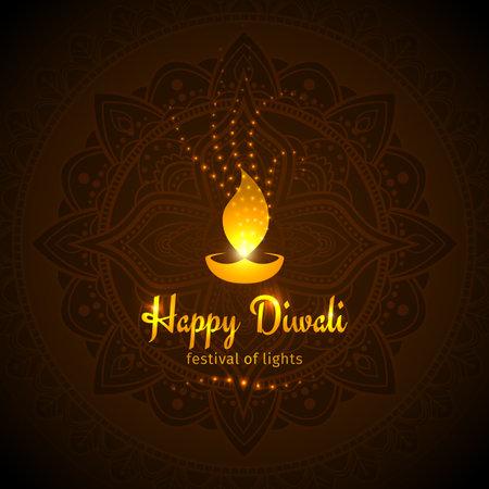 Happy diwali vector holiday illustration.