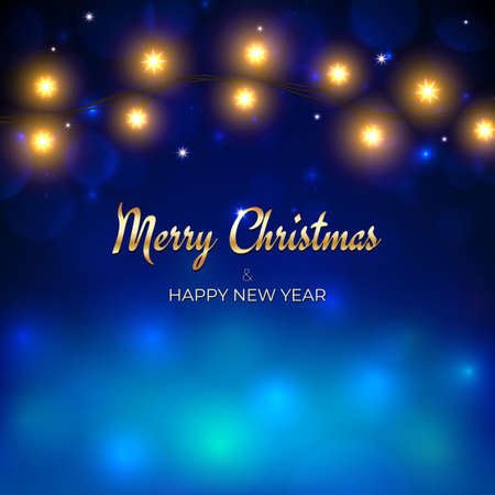 Merry Christmas and happy new year holiday greeting card. Golden christmas lights.