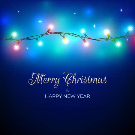 Merry Christmas and happy new year holiday greeting card. Colorful christmas lights. Glowing xmas garland. Glowing lights on blue background. Vector holiday xmas party banner design. Gold lettering