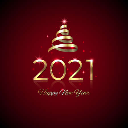 New Year 2021. Shiny golden 2021 with ribbon on red background. New Year design for invitation, greeting card, calendar. Party event decoration. Shiny gold logo. Holiday greeting card, vector Stock Illustratie