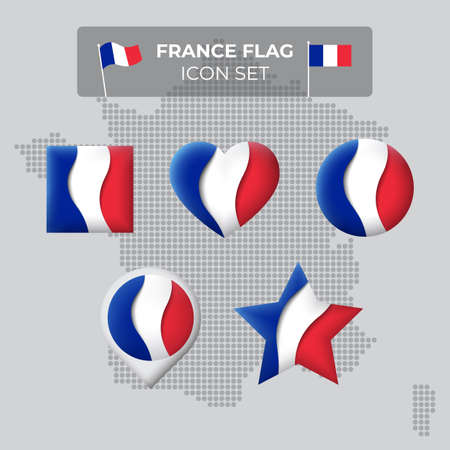 France flag icons set in the shape of square, heart, circle, stars and pointer, map marker. Mosaic map of france. Waving in the wind. French tricolor. Paper cut. Vector symbol, icon, button