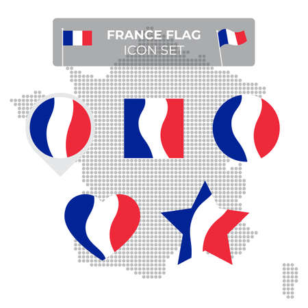 France flag icons set in the shape of square, heart, circle, stars and pointer, map marker. Mosaic map of france. Waving in the wind. French tricolor. Vector flat symbol, icon, button