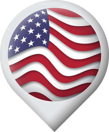 USA flag icon in the shape of pointer, map marker. Waving in the wind. Abstract american flag waving. US pattern. Paper cut style. Vector symbol, icon, button