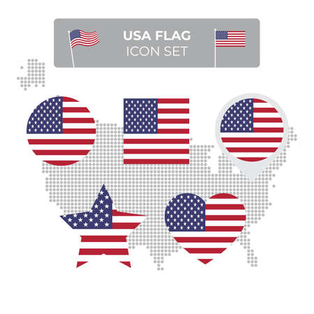 USA flag icons set in the shape of square, heart, circle, stars and pointer, map marker. USA mosaic map. American flag. US flat vector symbol, icon, button Stock Illustratie