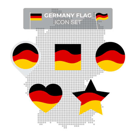 Germany flag icons set in the shape of square, heart, circle, stars and pointer, map marker. Mosaic map of germany. Waving in the wind. German tricolor. Vector flat symbol, icon, button