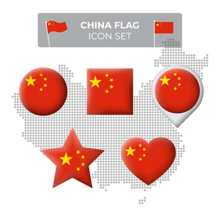 China flag icons set in the shape of square, heart, circle, stars and pointer, map marker. Mosaic map of china. Chinese flag. Vector symbol, icon, button