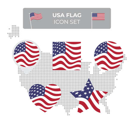 USA flag icons set in the shape of square, heart, circle, stars and pointer, map marker. USA mosaic map. American flag waving in the wind. US flat vector symbol, icon, button Stock Illustratie