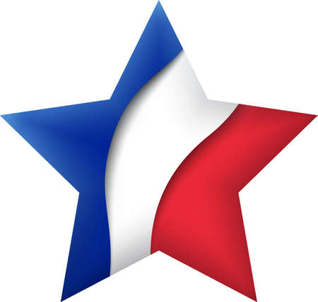 France flag icon in the shape of star. Waving in the wind. Abstract waving france flag. French tricolor. Paper cut style. Vector symbol, icon, button Stock Illustratie