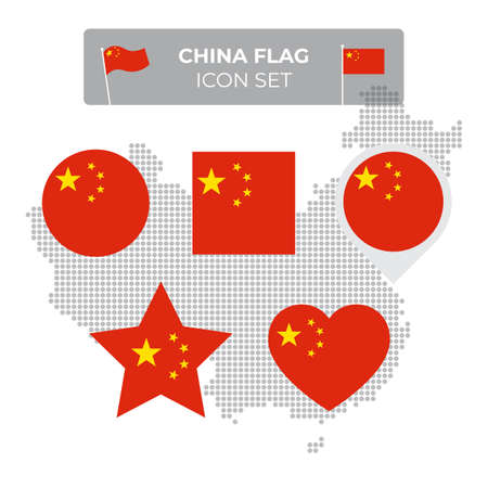China flag icons set in the shape of square, heart, circle, stars and pointer, map marker. Mosaic map of china. Chinese flag. Vector flat symbol, icon, button  イラスト・ベクター素材