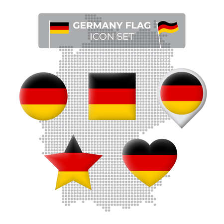 Germany flag icons set in the shape of square, heart, circle, stars and pointer, map marker. Germany mosaic map. German tricolor. Vector symbol, icon, button