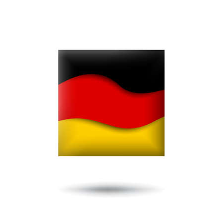 Germany flag icon in the shape of square. Waving in the wind. Abstract waving germany flag. German tricolor. Paper cut style. Vector symbol, icon, button Stock Illustratie