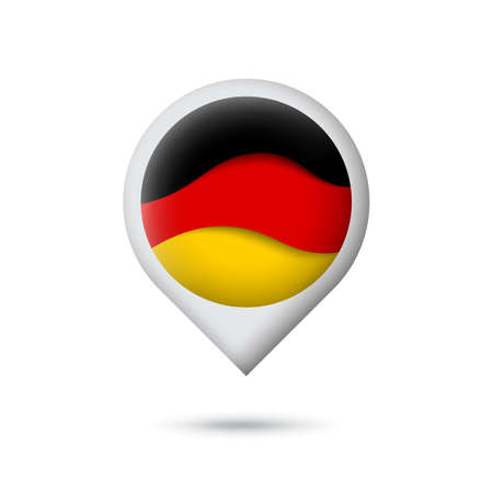Germany flag icon in the shape of pointer, map marker. Waving in the wind. Abstract waving germany flag. German tricolor. Paper cut style. Vector symbol, icon, button Stock Illustratie