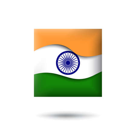 India flag icon in the shape of square. Waving in the wind. Abstract waving flag of india. Indian tricolor. Paper cut style. Vector symbol, icon, button