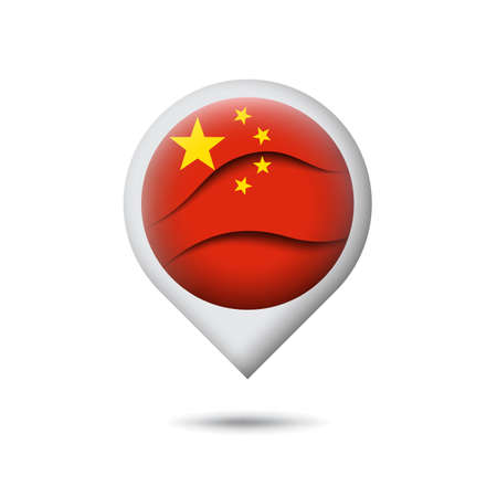 China flag icon in the shape of pointer, map marker. Waving in the wind. Abstract waving china flag. Paper cut style. Vector symbol, icon, button Stock Illustratie