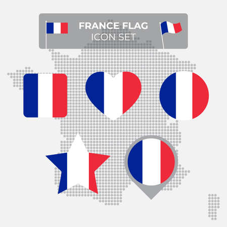 France flag icons set in the shape of square, heart, circle, stars and pointer, map marker. Mosaic map of france. French tricolor. Vector flat symbol, icon, button Stock Illustratie