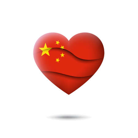 China flag icon in the shape of heart. Waving in the wind. Abstract waving china flag. Paper cut style. Vector symbol, icon, button