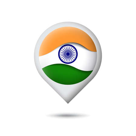 India flag icon in the shape of pointer, map marker. Waving in the wind. Abstract waving flag of india. Paper cut style. Indian tricolor. Vector symbol, icon, button Stock Illustratie