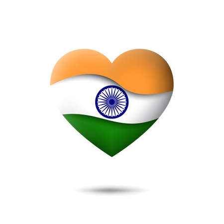 India flag icon in the shape of heart. Waving in the wind. Abstract waving flag of india. Indian tricolor. Paper cut style. Vector symbol, icon, button