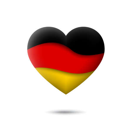 Germany flag icon in the shape of heart. Waving in the wind. Abstract waving germany flag. German tricolor. Paper cut style. Vector symbol, icon, button