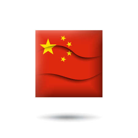 China flag icon in the shape of square. Waving in the wind. Abstract waving china flag. Paper cut style. Vector symbol, icon, button
