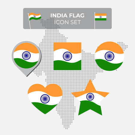 India flag icons set in the shape of square, heart, circle, stars and pointer, map marker. Mosaic map of india. Waving in the wind. Indian flag. Vector symbol, icon, button