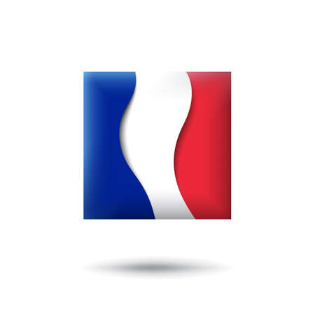 France flag icon in the shape of square. Waving in the wind. Abstract waving france flag. French tricolor. Paper cut style. Vector symbol, icon, button Stock Illustratie