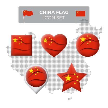 China flag icons set in the shape of square, heart, circle, stars and pointer, map marker. Mosaic map of china. Waving in the wind. Chinese flag. Paper cut. Vector symbol, icon, button