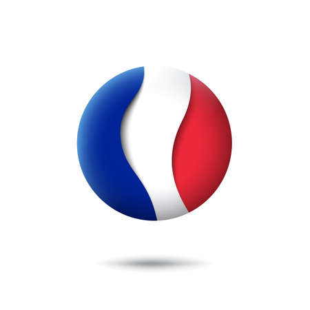 France flag icon in the shape of circle. Waving in the wind. Abstract waving france flag. French tricolor. Paper cut style. Vector symbol, icon, round button