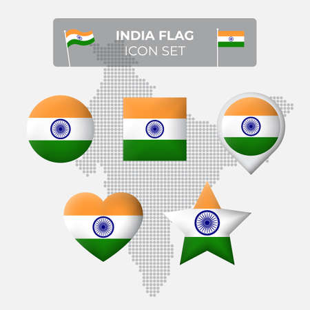 India flag icons set in the shape of square, heart, circle, stars and pointer, map marker. Mosaic map of india. Indian flag. Vector symbol, icon, button Stock Illustratie