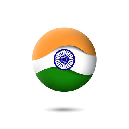India flag icon in the shape of circle. Waving in the wind. Abstract waving flag of india. Indian tricolor. Paper cut style. Vector symbol, icon, round button