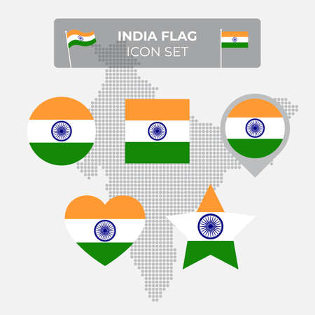 India flag icons set in the shape of square, heart, circle, stars and pointer, map marker. Mosaic map of india. Indian flag. Flat style. Vector symbol, icon, button Stock Illustratie