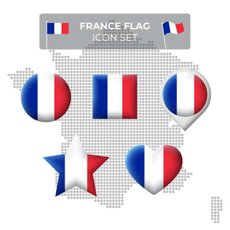 France flag icons set in the shape of square, heart, circle, stars and pointer, map marker. Mosaic map of france. French tricolor. Vector symbol, icon, button