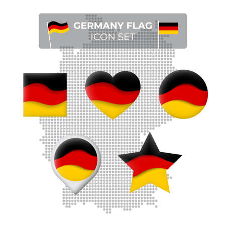 Germany flag icons set in the shape of square, heart, circle, stars and pointer, map marker. Mosaic map of germany. Waving in the wind. German tricolor. Paper cut. Vector symbol, icon, button