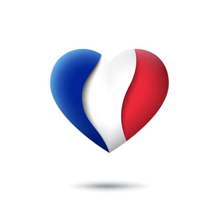 France flag icon in the shape of heart. Waving in the wind. Abstract waving france flag. French tricolor. Paper cut style. Vector symbol, icon, button