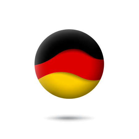 Germany flag icon in the shape of circle. Waving in the wind. Abstract waving germany flag. German tricolor. Paper cut style. Vector symbol, icon, round button