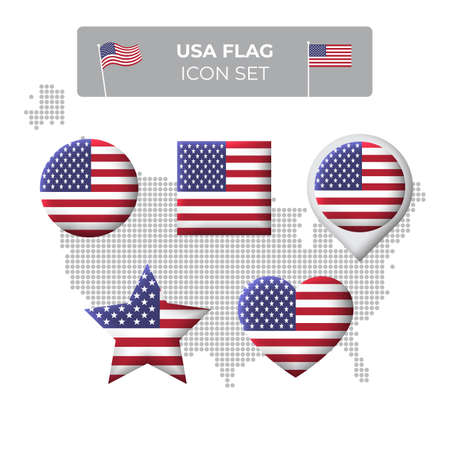 USA flag icons set in the shape of square, heart, circle, stars and pointer, map marker. USA mosaic map. American flag. US vector symbol, icon, button