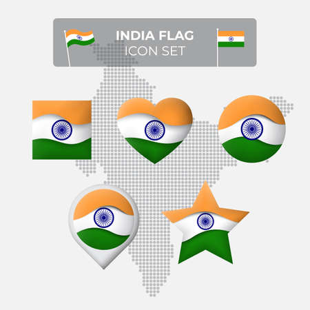 India flag icons set in the shape of square, heart, circle, stars and pointer, map marker. Mosaic map of india. Waving in the wind. Indian flag. Paper cut. Vector symbol, icon, button