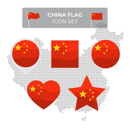 China flag icons set in the shape of square, heart, circle, stars and pointer, map marker. Mosaic map of china. Waving in the wind. Chinese flag. Vector flat symbol, icon, button