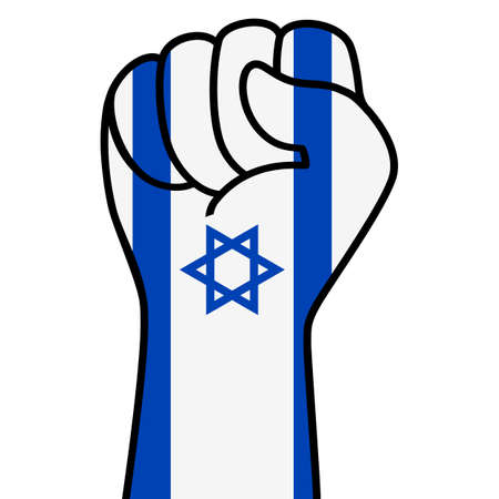 Raised fist of israel flag. Israeli hand. Fist shape israel flag color. Patriotic demonstration, rebel, protest, fighting for human rights, freedom. Vector flat icon, symbol for web banner, posts