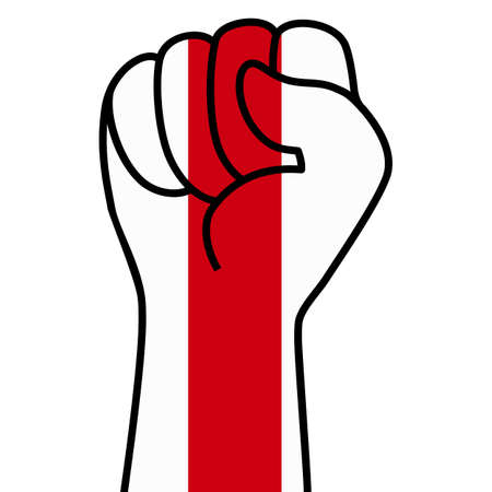 Raised fist flag of belarus, hand. Fist shape color of belarus flag. Patriotic demonstration, rebel, protest, fighting for human rights, freedom. Vector flat icon, symbol for web banner, posts