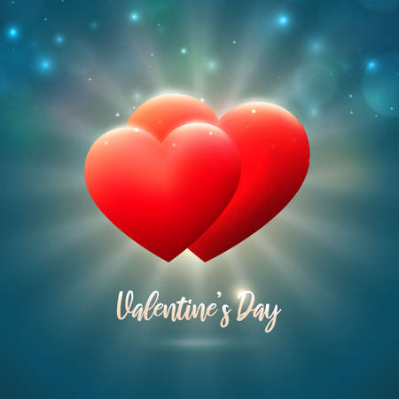 Valentines day card, red hearts on blue background with bokeh and lights. Happy valentine day banner. Valentine's invitation card with hearts. Love. Vector illustration Stock Illustratie