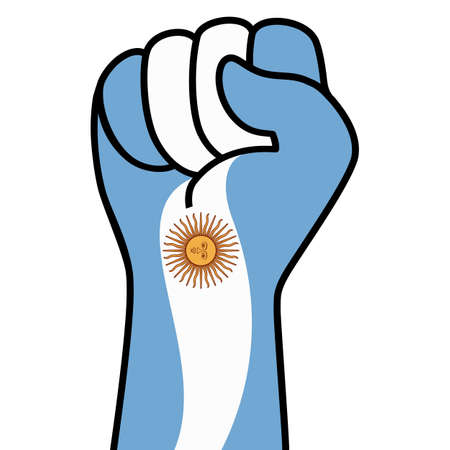Raised fist argentina flag. Argentine hand. Fist shape argentina flag color. Patriotic demonstration, rebel, protest, fighting for human rights, freedom. Vector flat icon, symbol for web banner, posts