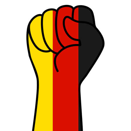 Raised german fist flag. The hand of germany. Fist shape germany flag color. Patriotic demonstration, rebel, protest, fighting for human rights, freedom. Vector flat icon, symbol for web banner, posts Stock Illustratie