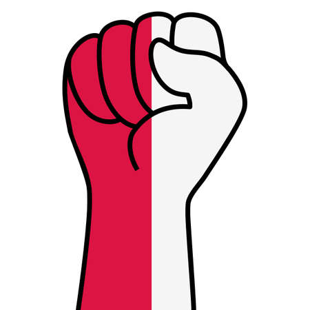Raised polish fist flag. Hand of Poland. Fist shape poland flag color. Patriotic demonstration, rebel, protest, fighting for human rights, freedom. Vector flat icon, symbol for web banner, posts
