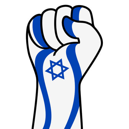 Raised fist of israel flag. Israeli hand. Fist shape israel flag color. Patriotic demonstration, rebel, protest, fighting for human rights, freedom. Vector flat icon, symbol for web banner, posts Stock Illustratie