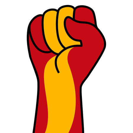 Raised spanish fist flag. Spain hand. Fist shape spain flag color. Patriotic demonstration, rebel, protest, fighting for human rights, freedom. Vector flat icon, symbol for web banner, posts