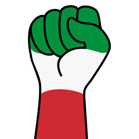 Raised italian fist flag. The hand of italy. Fist shape italy flag color. Patriotic demonstration, rebel, protest, fighting for human rights, freedom. Vector flat icon, symbol for web banner, posts