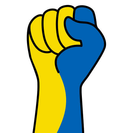 Raised ukrainian fist flag. The hand of ukraine. Fist shape ukraine flag color. Patriotic demonstration, rebel, protest, fighting for human rights, freedom. Vector icon, symbol for web banner, posts Stock Illustratie