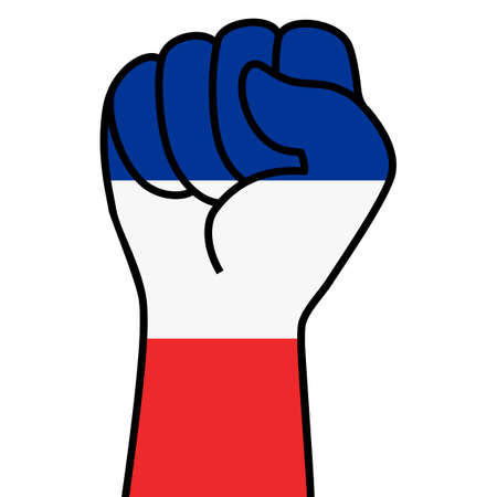 Raised french fist flag. Hand of france. Fist shape france flag color. Patriotic demonstration, rebel, protest, fighting for human rights, freedom. Vector flat icon, symbol for web banner, posts